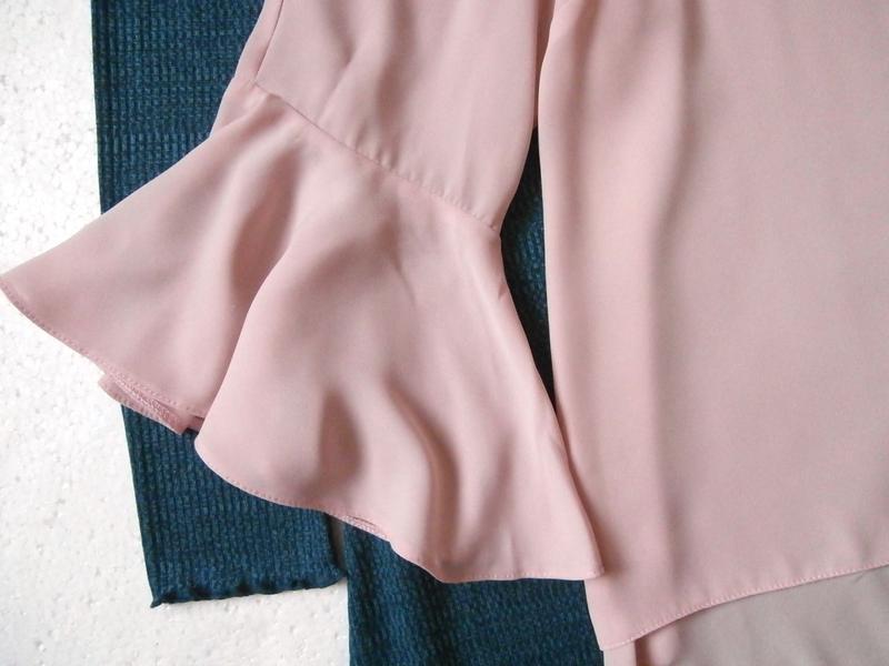 Нежная пудровая блуза, блузка с воланами, рюшами - Фото 3