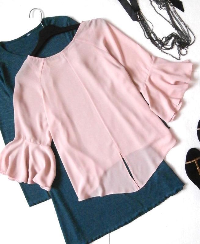 Нежная пудровая блуза, блузка с воланами, рюшами - Фото 4