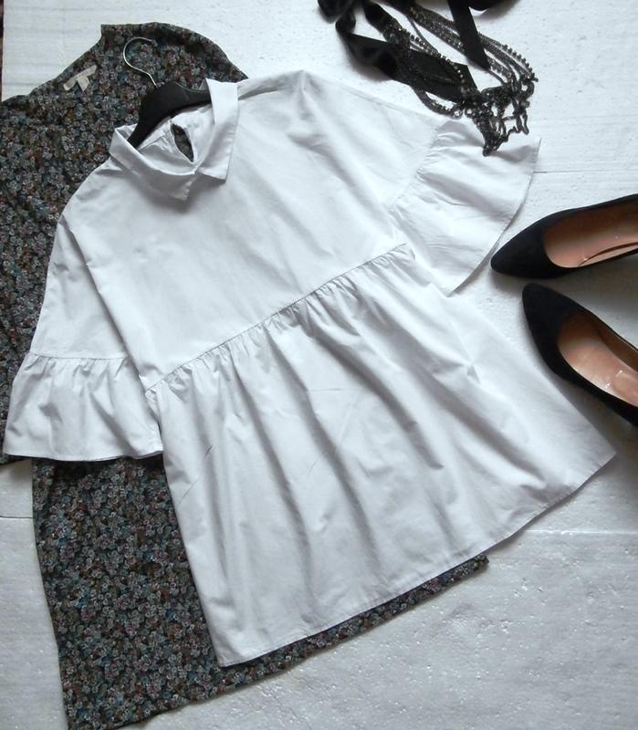 Милая хлопковая блуза оверсайз с воланами, рюшами