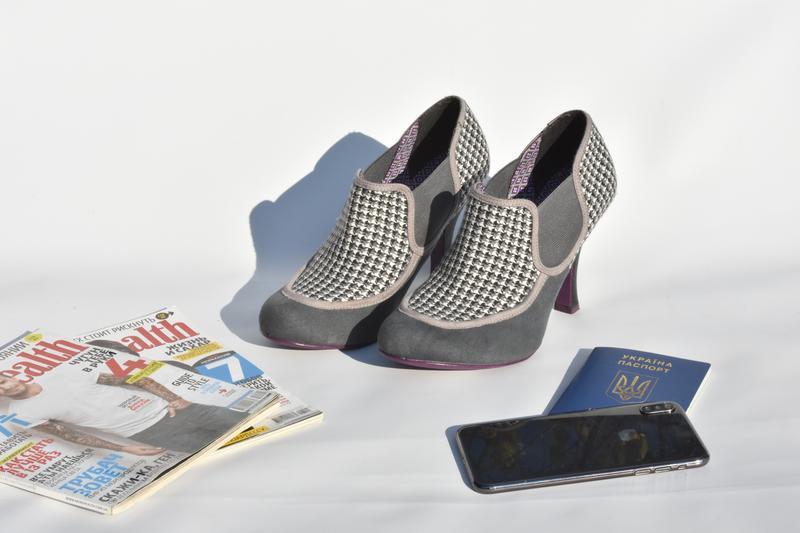 Женские туфли челси на каблуке замшевые в ромб на осень размер... - Фото 2