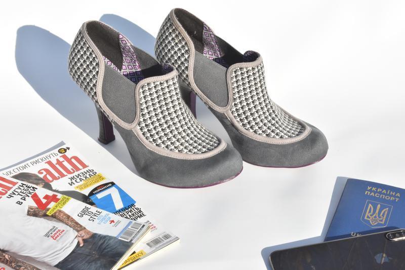 Женские туфли челси на каблуке замшевые в ромб на осень размер... - Фото 3