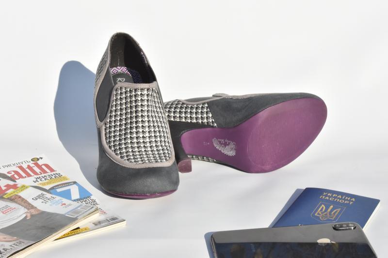 Женские туфли челси на каблуке замшевые в ромб на осень размер... - Фото 4