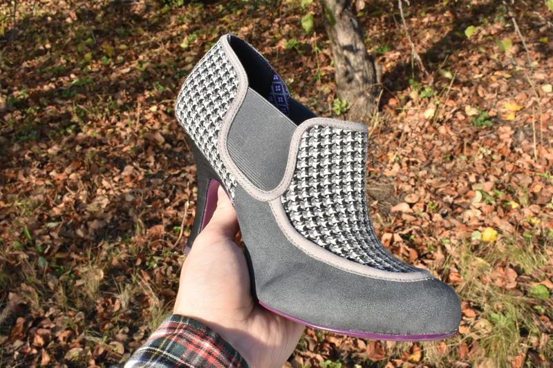 Женские туфли челси на каблуке замшевые в ромб на осень размер... - Фото 5