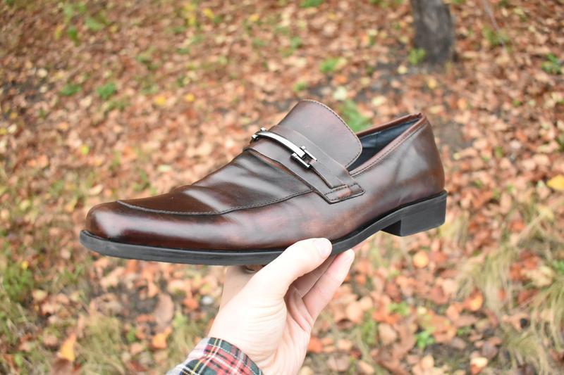 Steve madden  мужские туфли лоферы коричневые кожаные размер 47