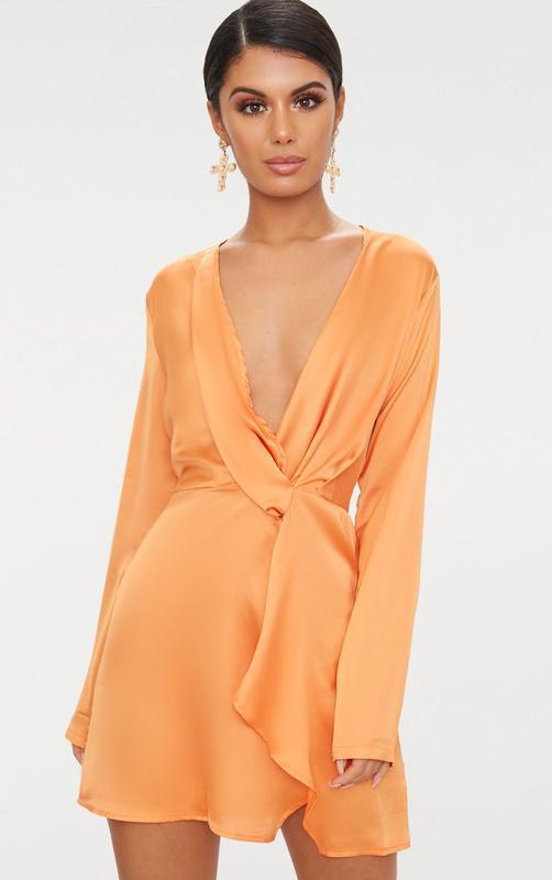 Ликвидация товара 🔥  сатиновое нежное оранжевое платье с узлом