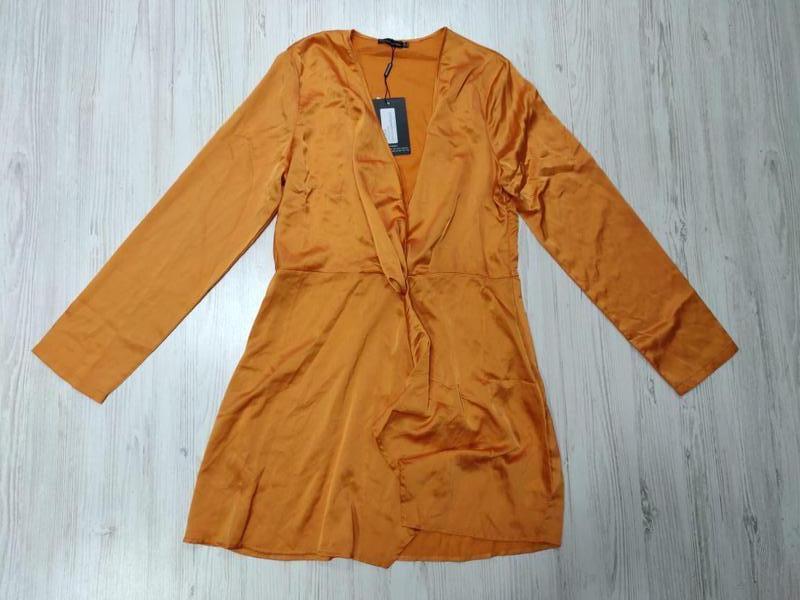 Ликвидация товара 🔥  сатиновое нежное оранжевое платье с узлом - Фото 6