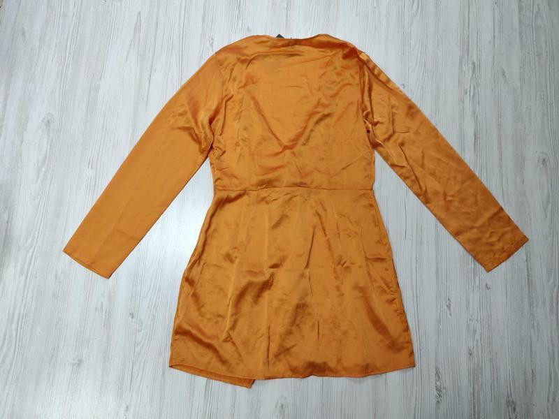 Ликвидация товара 🔥  сатиновое нежное оранжевое платье с узлом - Фото 7