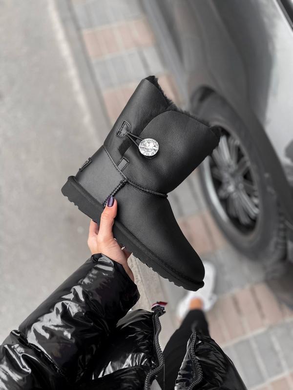 Ugg bailey button black leather натуральные женские зимние сап...