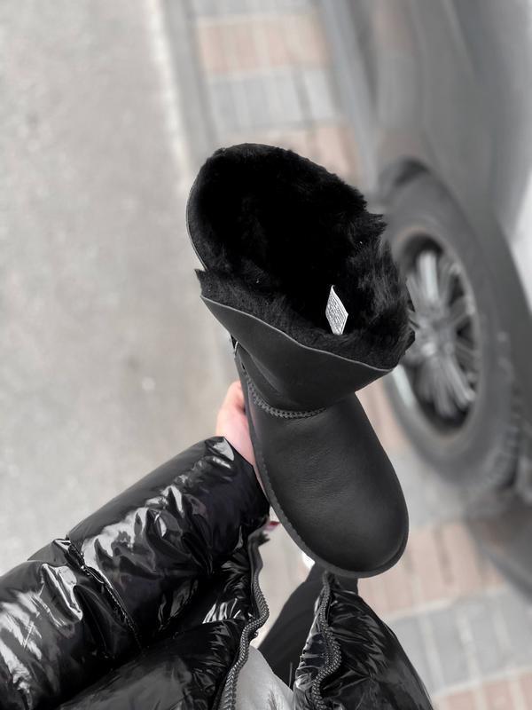 Ugg bailey button black leather натуральные женские зимние сап... - Фото 2