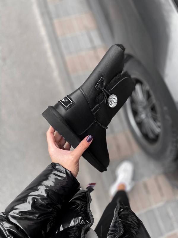 Ugg bailey button black leather натуральные женские зимние сап... - Фото 4