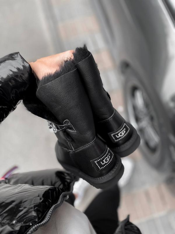 Ugg bailey button black leather натуральные женские зимние сап... - Фото 5