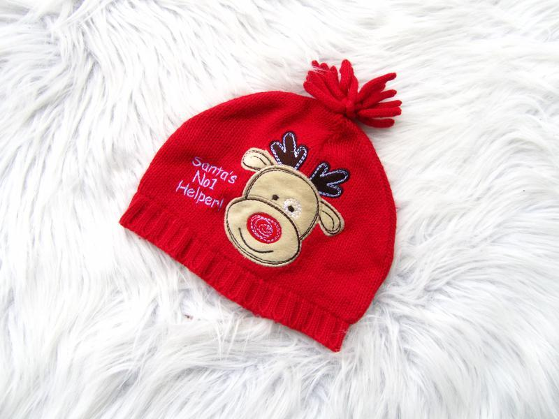 Стильная теплая  шапка санта