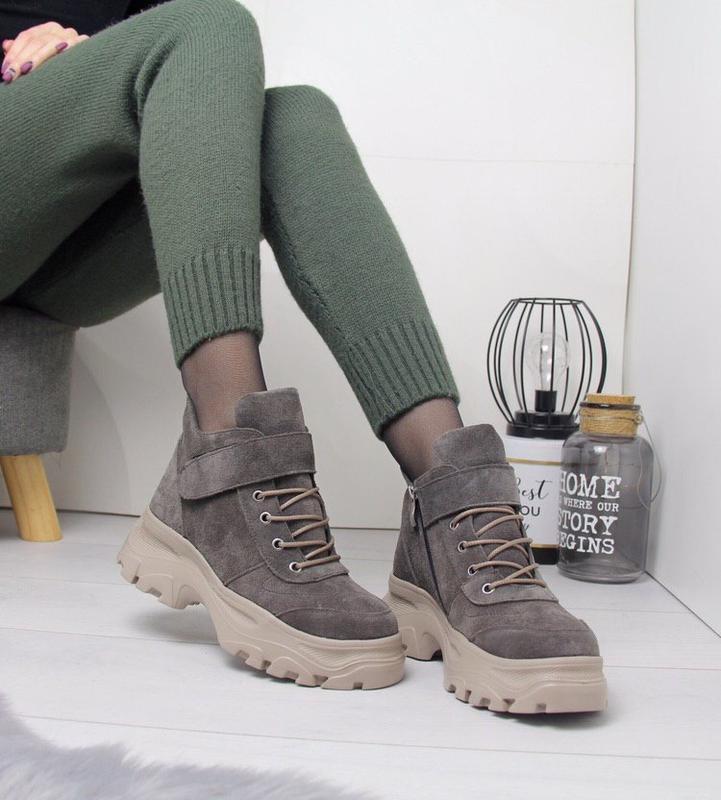 Крутые натуральные замшевые зимние ботинки зимние кроссовки на...