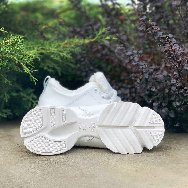Шикарные женские зимние кроссовки christian dior white на меху - Фото 3