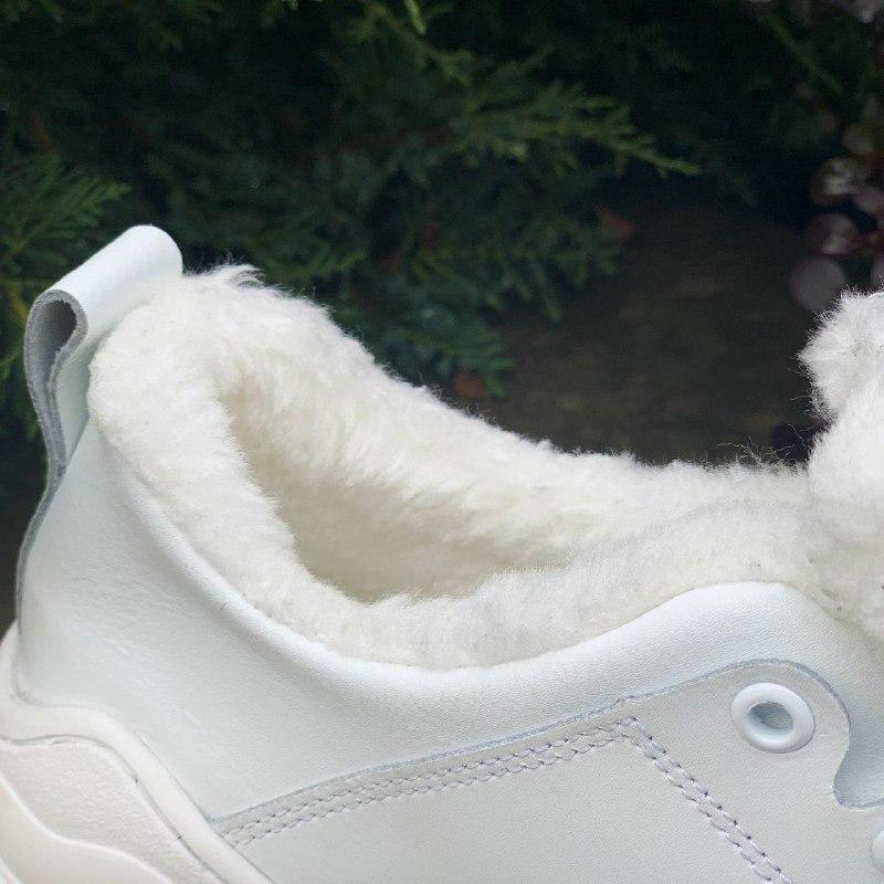 Шикарные женские зимние кроссовки christian dior white на меху - Фото 5