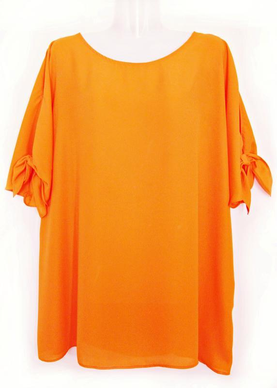 Апельсиновая блуза с открытыми плечами р.22
