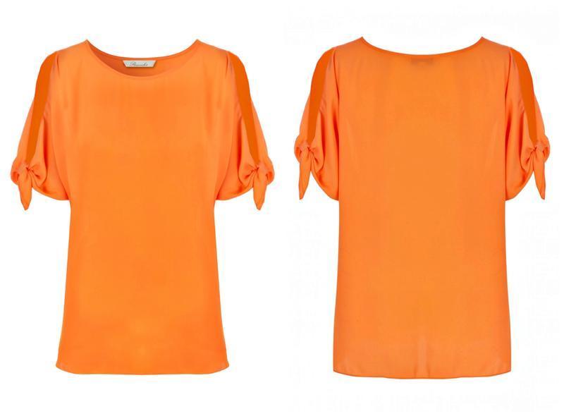Апельсиновая блуза с открытыми плечами р.22 - Фото 2