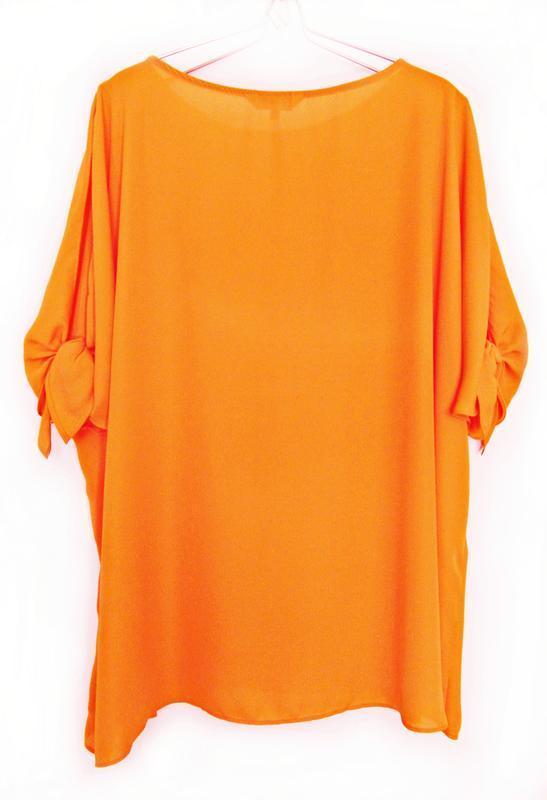 Апельсиновая блуза с открытыми плечами р.22 - Фото 3
