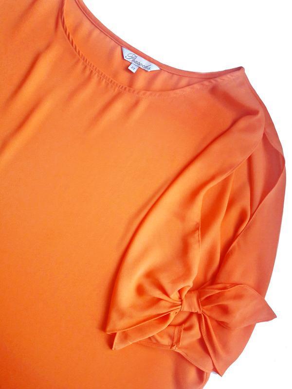 Апельсиновая блуза с открытыми плечами р.22 - Фото 4