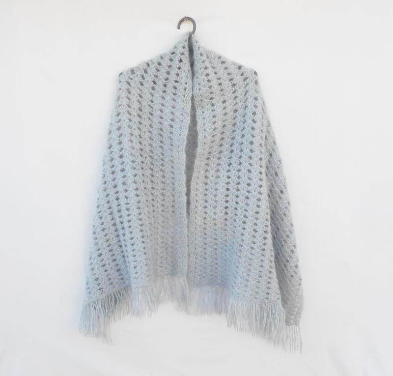 Вязаный объемный  ажурный мохеровый шерстяной  широкий шарф па...