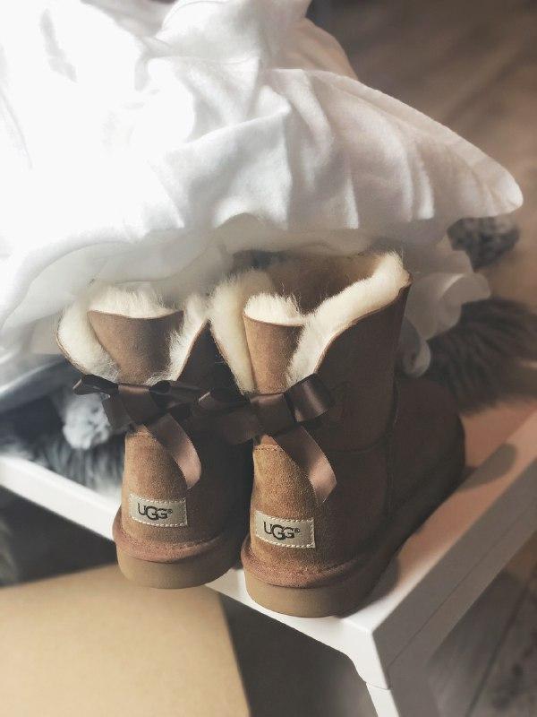 Шикарные женские угги  ugg mini bailey bow brown из натуральны... - Фото 3