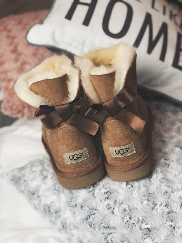 Шикарные женские угги  ugg mini bailey bow brown из натуральны... - Фото 4