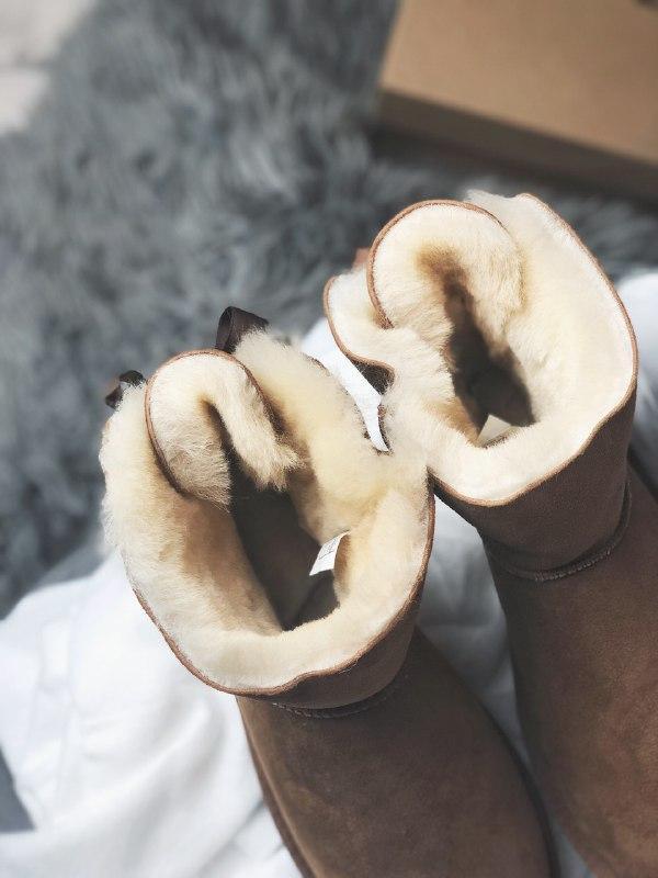 Шикарные женские угги  ugg mini bailey bow brown из натуральны... - Фото 5
