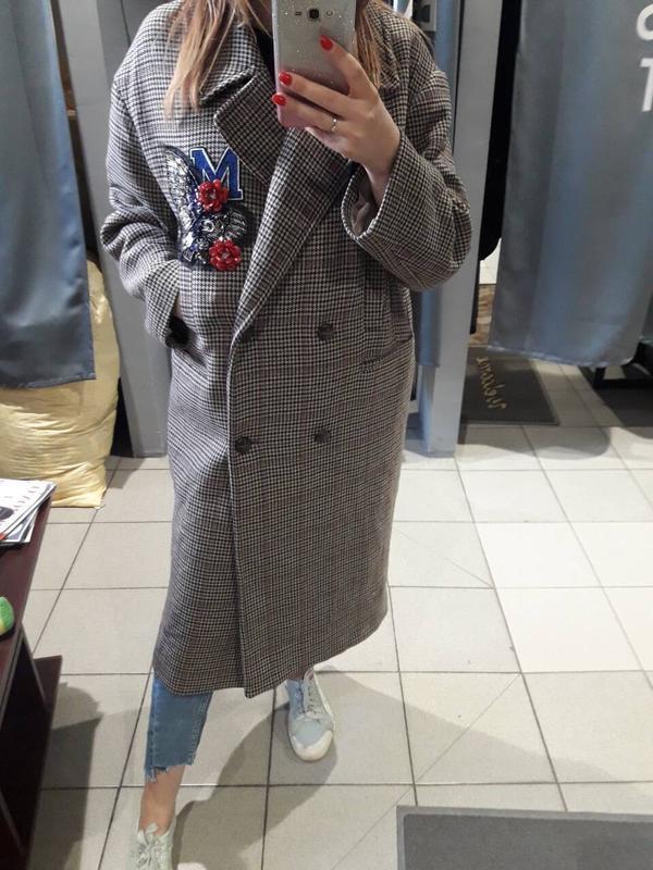 Скидка! италия! трендовое шерстяное двубортное oversize пальто...