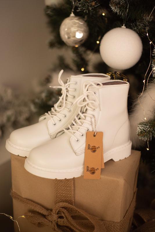 Dr. martens 1460 white fur женские зимние ботинки мартинс белы...