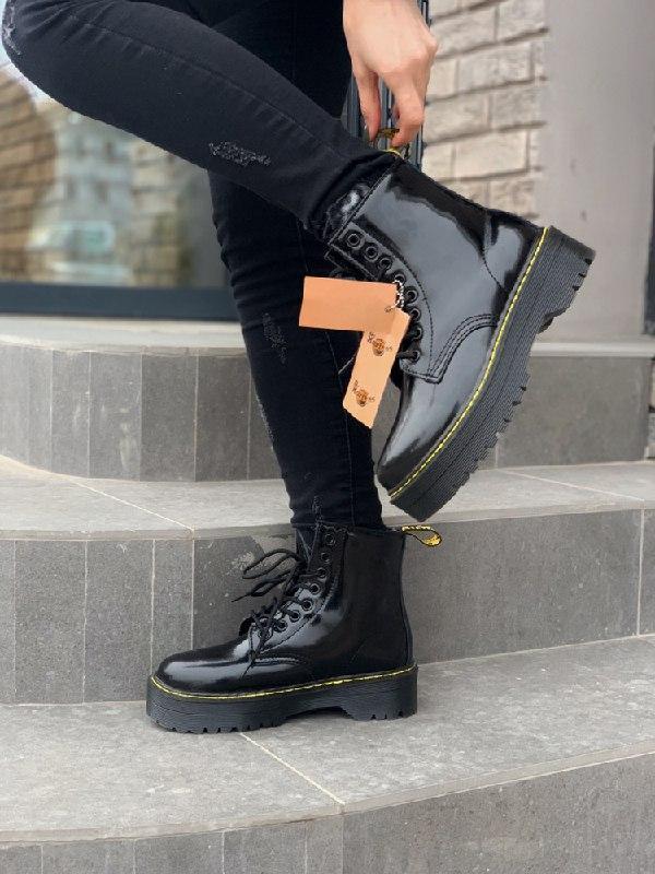 Шикарные женские зимние ботинки dr. martens patent jadon fur н...