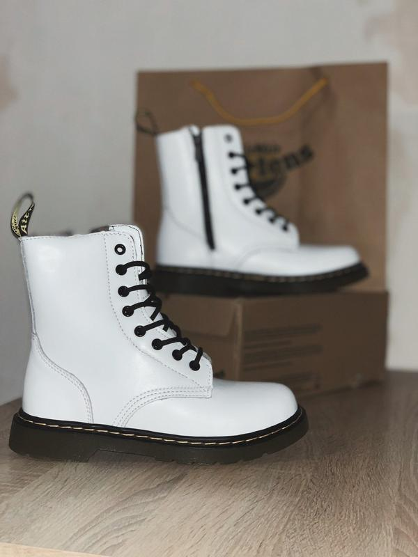 Dr. martens 1460 white женские зимние ботинки мартинс белые с ...