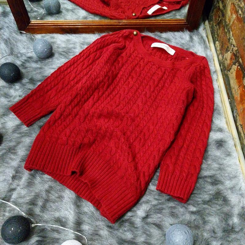 Вязаный свитер пуловер джемпер с косами zara