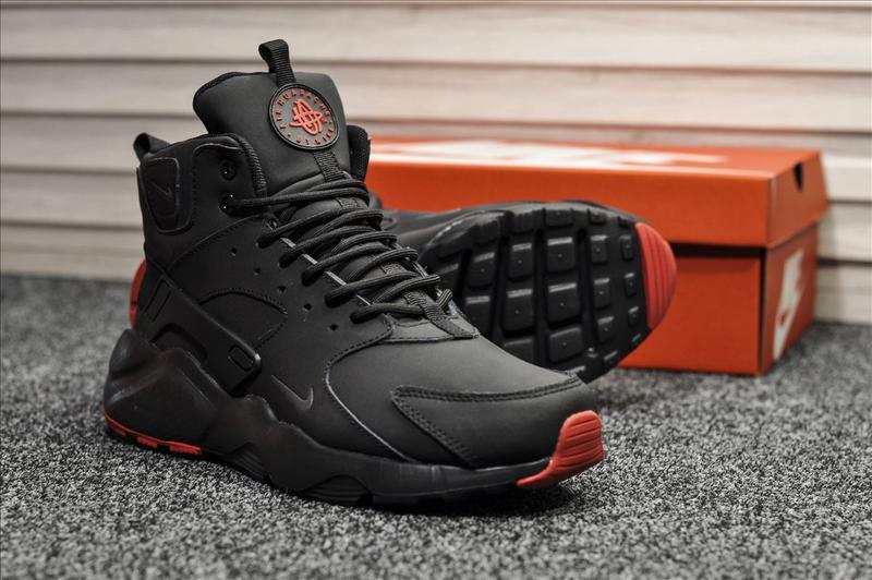 Зимние ботинки на меху Nike Air Huarache Black. Артикул 8993Т.