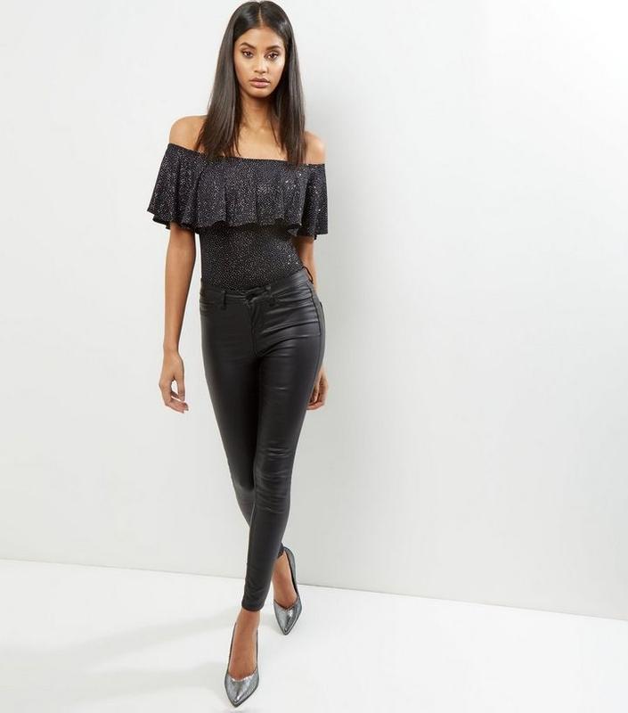 Боди блуза с воланами с длинным рукавом металлик - Фото 2