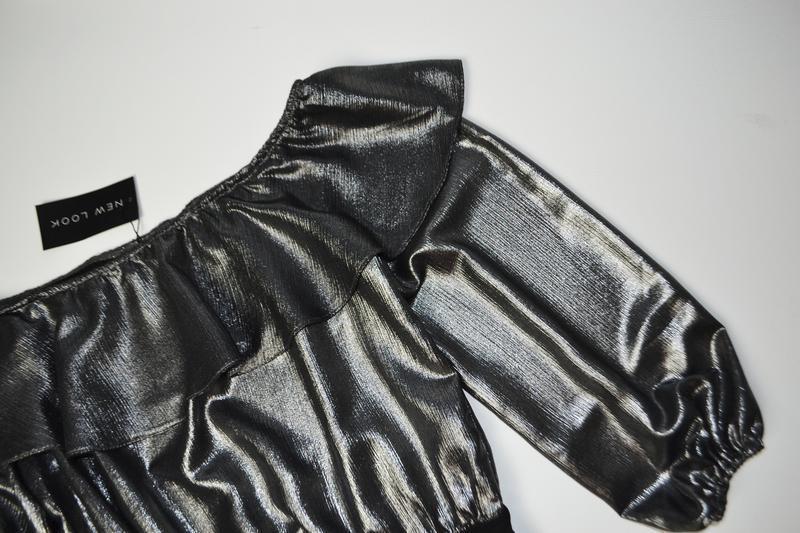 Боди блуза с воланами с длинным рукавом металлик - Фото 3
