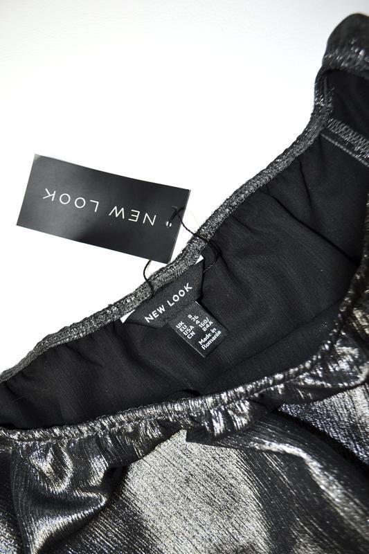 Боди блуза с воланами с длинным рукавом металлик - Фото 5