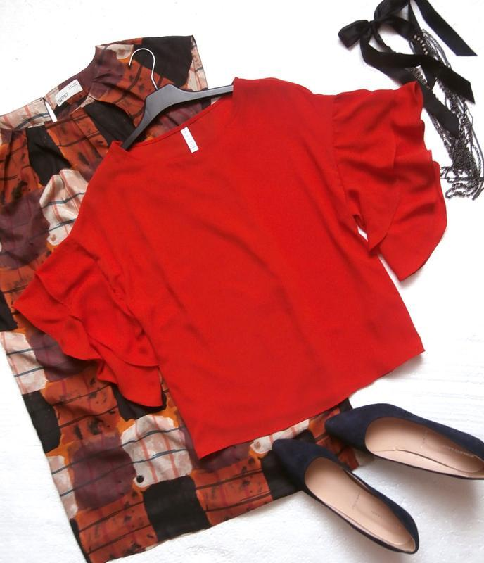 Яркая красная блуза amisu с воланами, рюшами