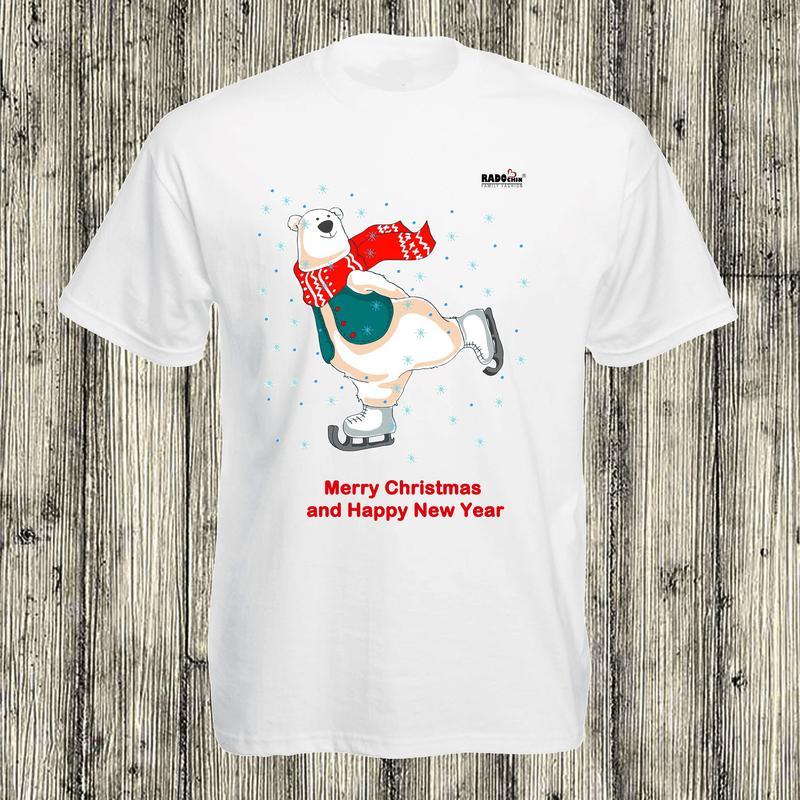 Новогодний фемелилук, футболка с мишками