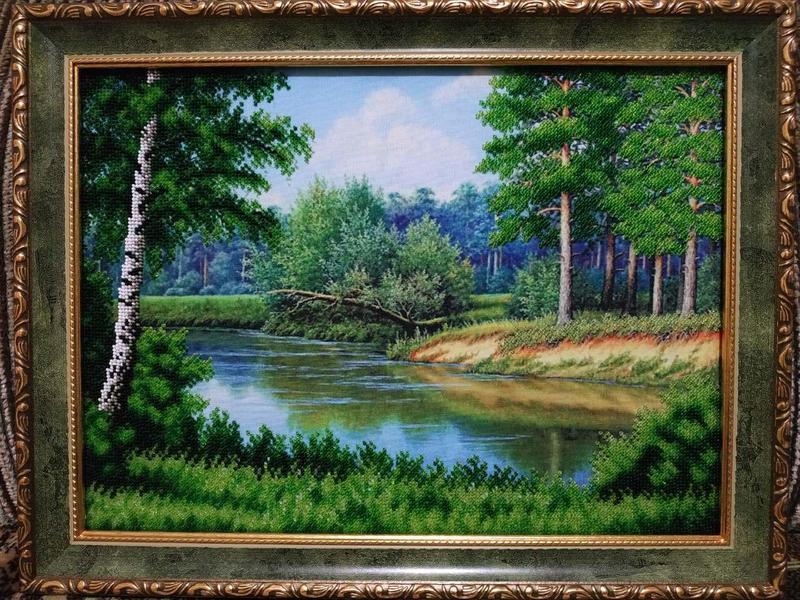 "Картина из чешского бисера ""Лето в лесу """