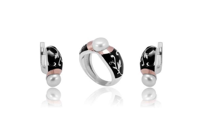 Набор:серьги и кольцо, серебро 925 пробы,золото,натуральный же...