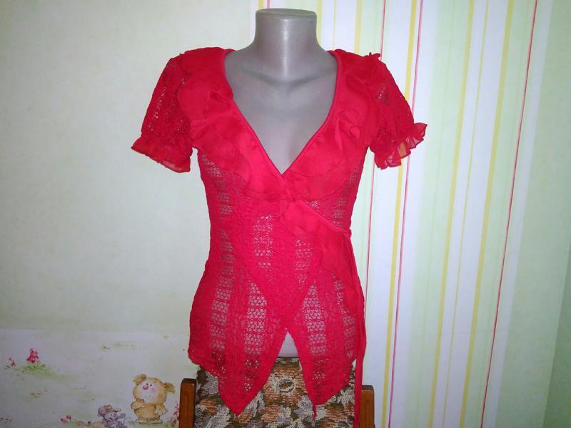Новая, красная, ажурная, кружевная, блузка, с воланами, размер...