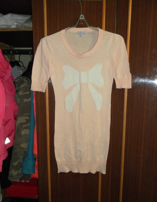 Платье, туника, персиковый цвет, с бантиком