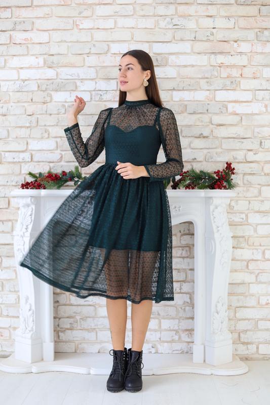 Оригинальное вечернее платье-миди - Фото 2