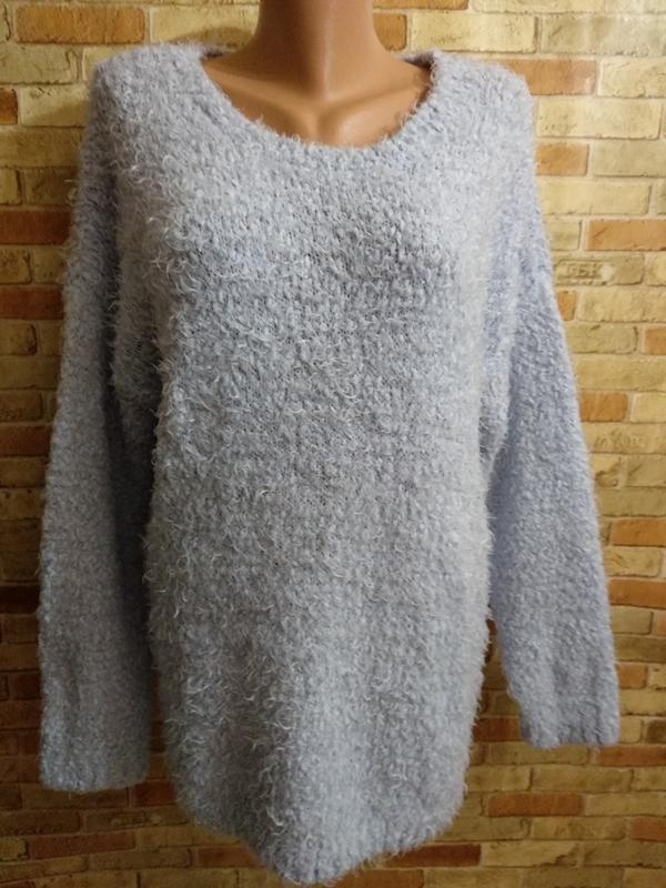 Теплый голубой свитер травка оверсайз 54-56 размера