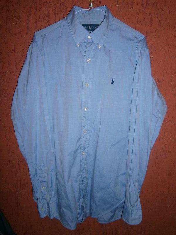 Голубая рубашка  размер 50 52 длинный рукав бренд