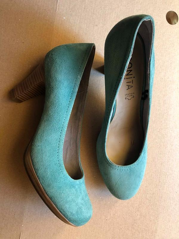 Туфли bonita. бирюзового цвета, нат.замша, размер 37