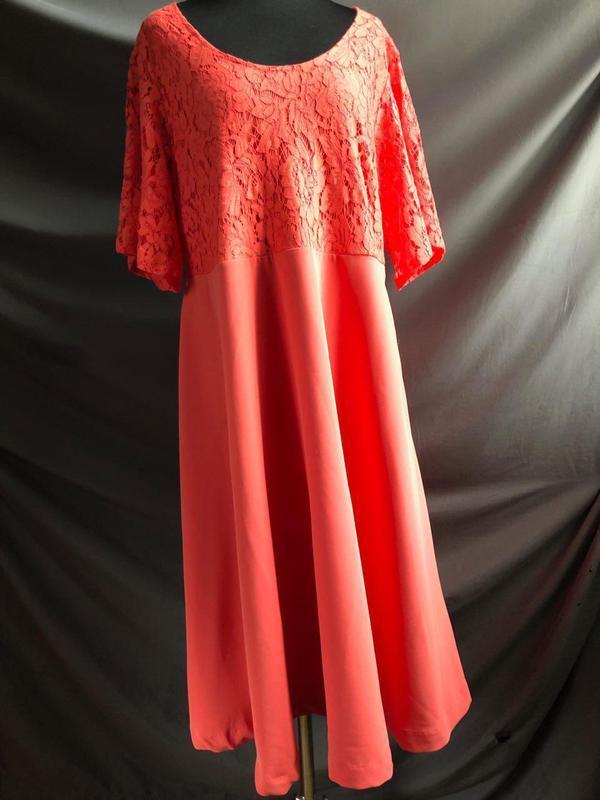Коралловое платье миди с кружевным верхом zizzi
