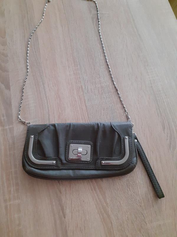 Сумка клатч с одним отделением и карманчиком  на цепочке