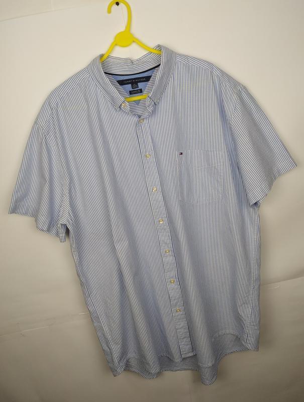 Рубашка хлопковая оригинальная в полоску большой размер tommy ...