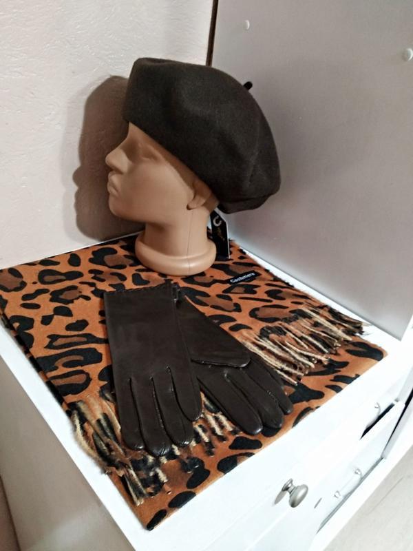 Комплект чешский фетровый берет tonak, леопардовый шарф палант...